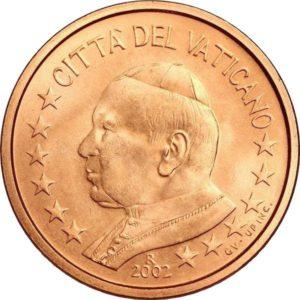 2 евроцента, Ватикан, тип 1