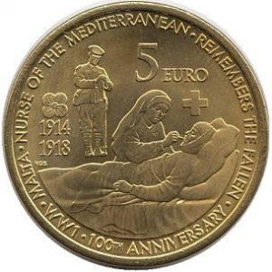 5 евро, Мальта, 100 лет началу Первой Мировой Войны, 2014