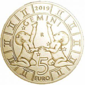5 евро, Сан-Марино, 2019, Близнецы, Серия Знаки Зодиака