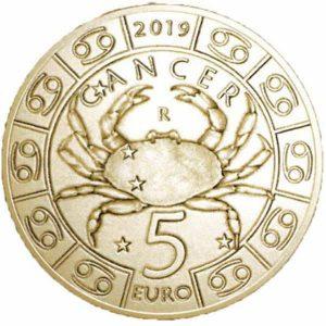 5 евро, Сан-Марино, 2019, Рак, Серия Знаки Зодиака