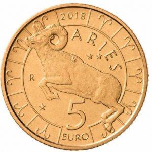 5 евро, Сан-Марино, 2018, Овен, Серия Знаки Зодиака