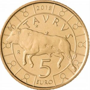 5 евро, 2018, Сан-Марино, Телец, Серия Знаки Зодиака